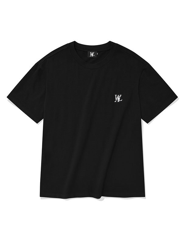 Signature embroidery short sleeved T-shirt - BLACK