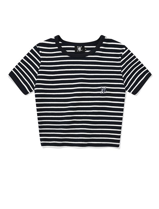 Double stripe crop short sleeved T-shirt - NAVY & WHITE