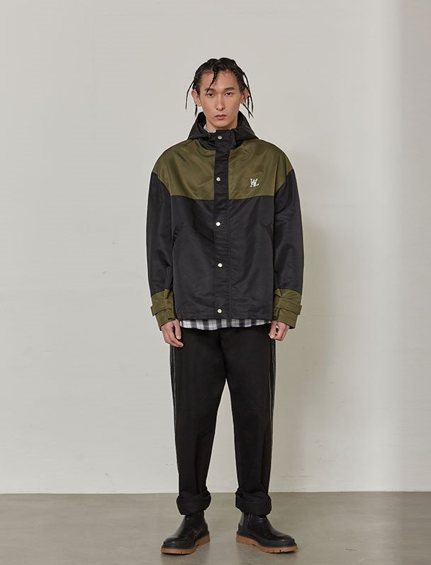 Color block windbreaker - BLACK&KHAKI