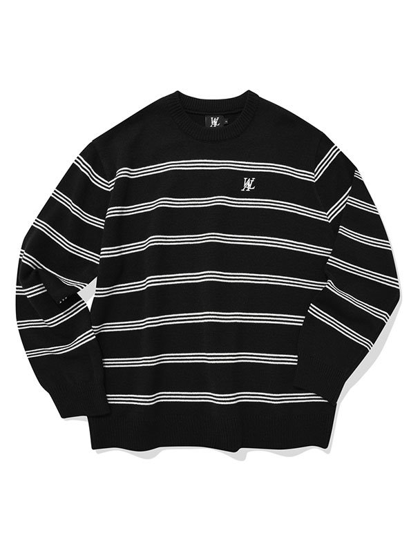 Natural stripe knit - BLACK