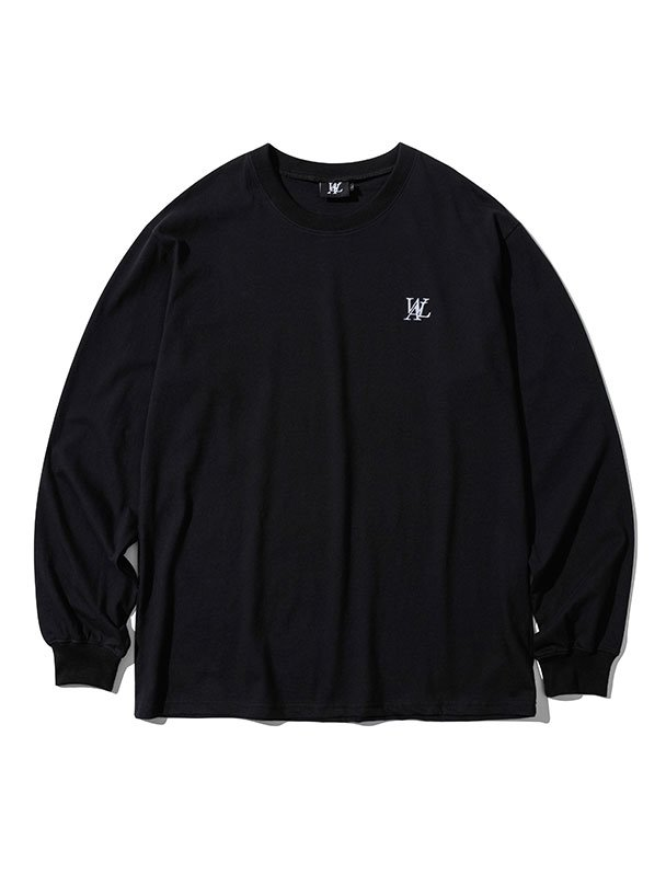 Signature embroidery long sleeved T-shirt  - BLACK