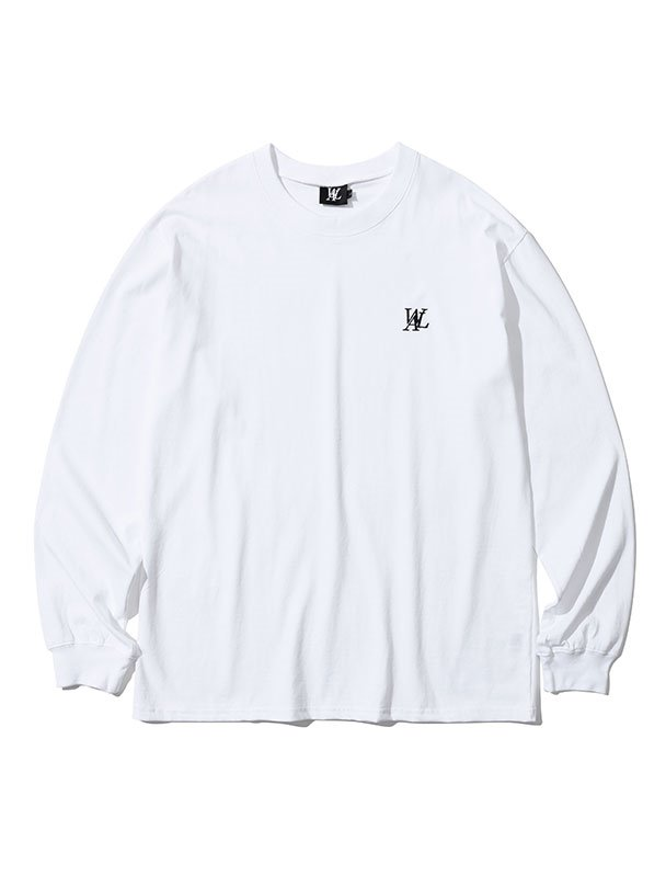 Signature embroidery long sleeved T-shirt  - WHITE